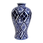 White with Navy Blue Geometric Design Tall Vase