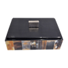 Black with Tortoise Shell Print Paneling Wooden Box with Handle on Lid