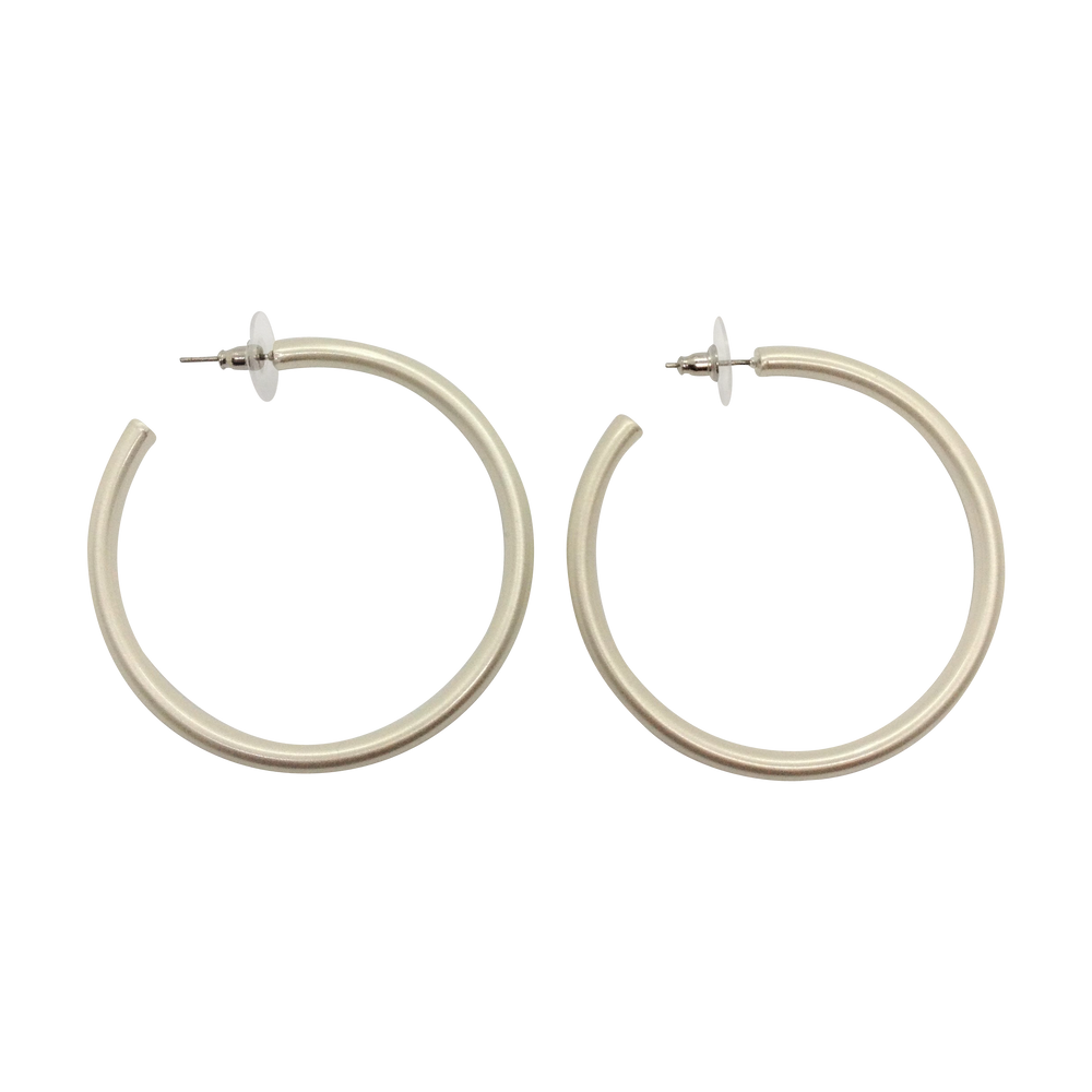 Silver Plated Post Hoop Fashion Earrings