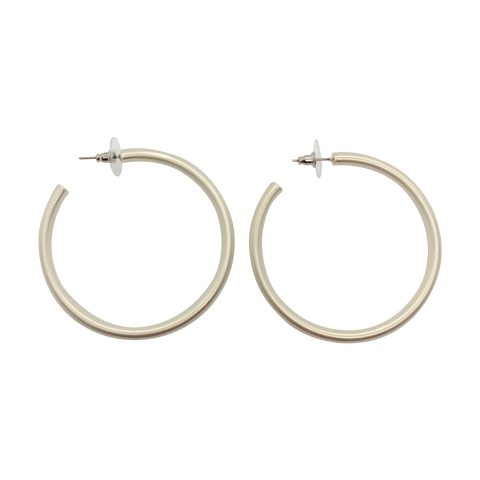 30mm Diameter Silver Plated Push Back Hoop Fashion Earrings