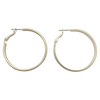 35mm Diameter Matte Silver Plated Latch Back Hoop Fashion Earrings