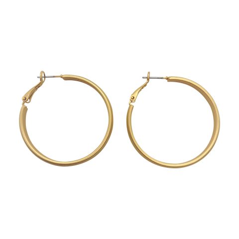 35mm Diameter Matte Gold Plated Latch Back Hoop Fashion Earrings