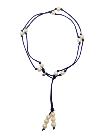 Teramasu Pearl on Navy Satin Lariat and Long Necklace