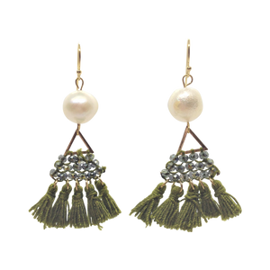 Teramasu Freshwater Pearl with Green Beading and Tassels Drop Earrings