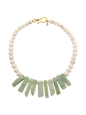 Gorgeous, Handmade Designer Teramasu Burmese Jade and White Agate Necklace