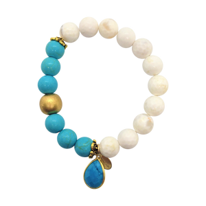 Teramasu Turquoise and White Agate with Turquoise Charm Bracelet