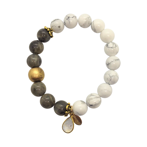 Teramasu Labradorite and White Howlite with Charm Bracelet
