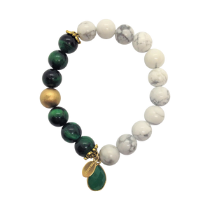 Teramasu Green Verdite and White Howlite Bracelet With Green Onyx Charm