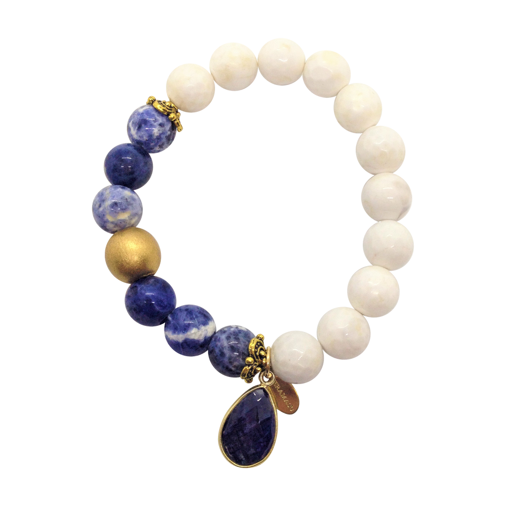 Teramasu Sodalite and Faceted White Agate Bracelet with Sodalite Charm