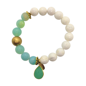 Teramasu White Faceted Agate With Blue Agate and Green Chalcedony Charm