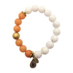 Teramasu White Agate and Coral Beading with Whiskey Topaz Charm Bracelet