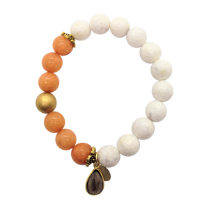 Teramasu White Agate and Coral Beading with Whiskey Topaz Bracelet