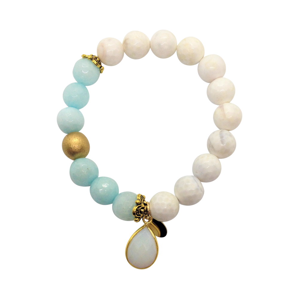 Teramasu White Faceted Agate With Faceted Blue Agate and Lolite Charm