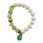 Teramasu White Faceted Agate With Green Agate and Green Chalcedony Charm