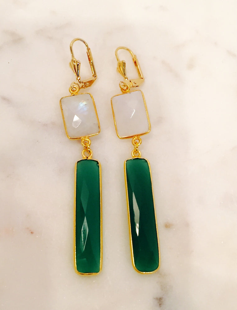 Moonstone and Green Onyx Earring