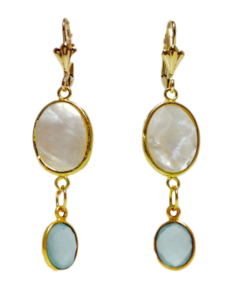Mother of Pearl Blue Chalcedony Gold Plated Drop Earrings