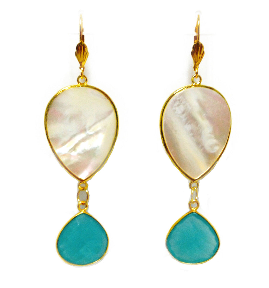 Large Mother of Pearl Blue Chalcedony Gold Plated Drop Earrings