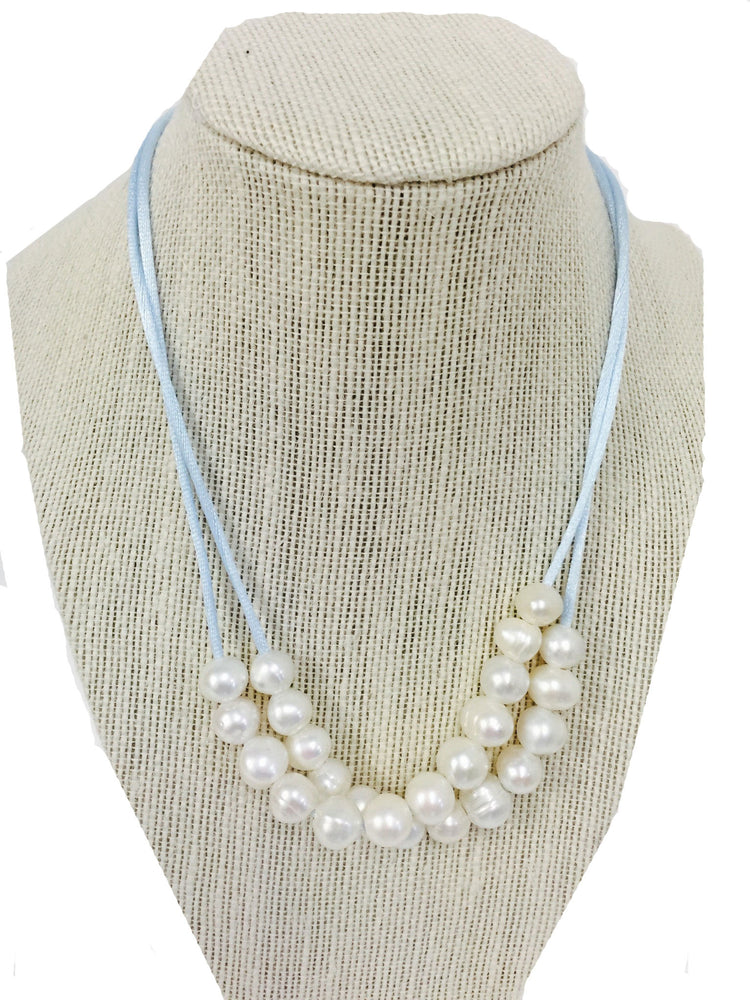 Teramasu Fresh Water Pearl and Blue Satin 3 Way Necklace