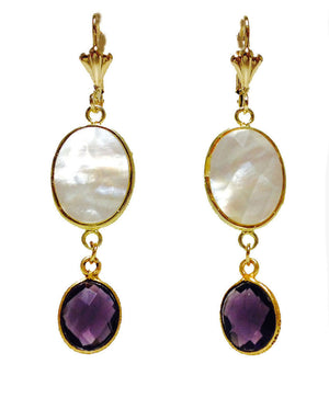 Mother of Pearl Purple Amethyst Gold Plated Drop Earrings