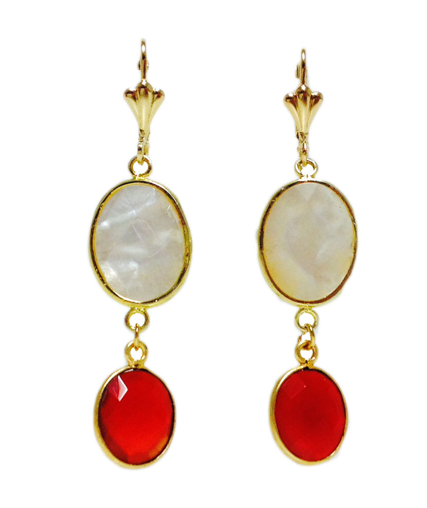 Mother of Pearl Red Carnelian Crystal Gold Plated Drop Earrings