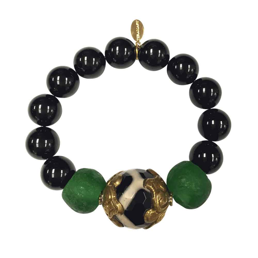 Black Onyx Tumbled Glass Bead With Black and White Agate Stone Stretch Bracelet Handmade By Teramasu