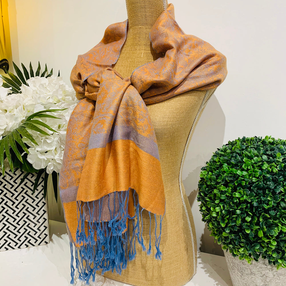 Teramasu Pashmina Scarf Wrap in Gold and Blue with Tassel Fringe
