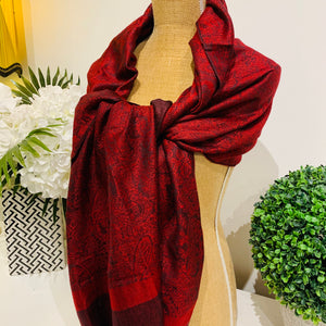 Teramasu Pashmina Scarf Wrap in Black and Red  with Tassel Fringe
