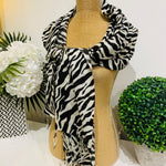 Teramasu Pashmina Scarf Wrap in Black and White Zebra Print with Tassel Fringe