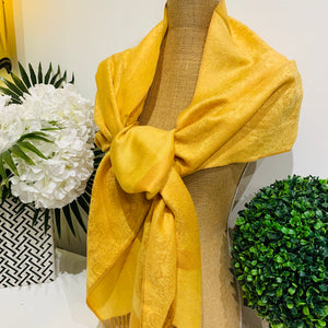 Teramasu Pashmina Scarf Wrap in Yellow with Tassel Fringe