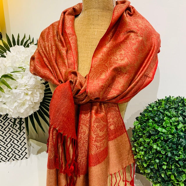 Teramasu Pashmina Scarf Wrap in Red Camel Beige with Tassel Fringe