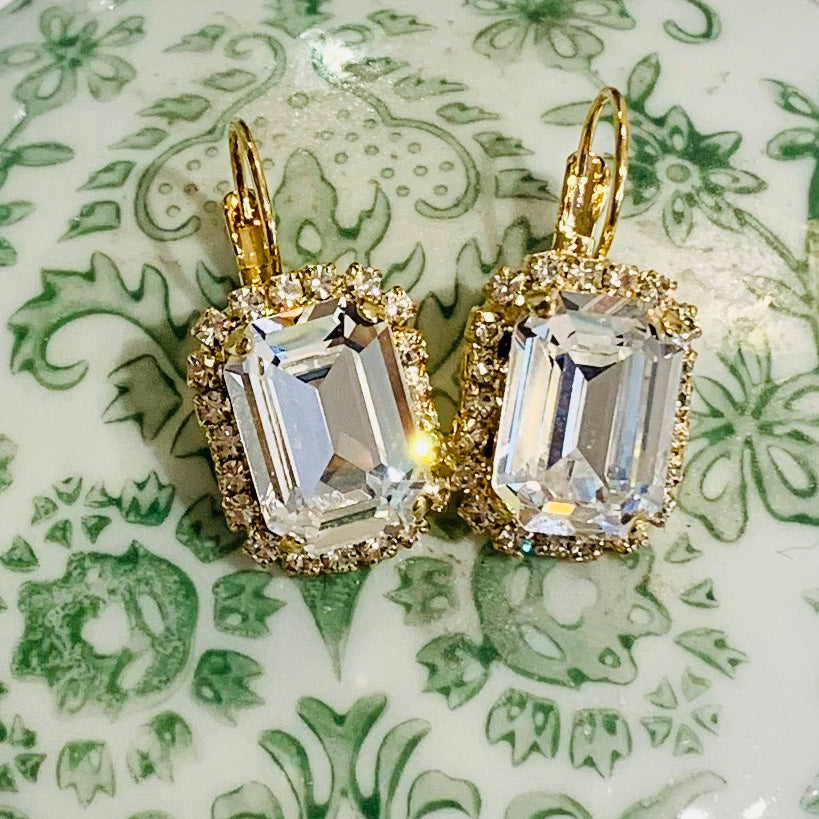 Teramasu Clear Crystal and Rhinestones Rectangle Lever Back Earrings