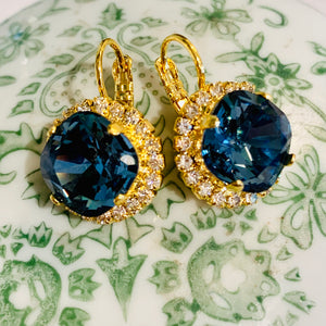 Teramasu Dark Crystal Blue Earrings with Rhinestones Lever Back