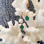 Green Onyx Pearl Dangle Earrings