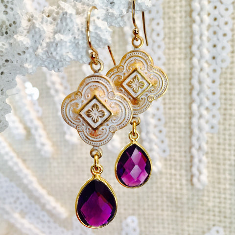 Amethyst Patina Quatrefoil Design Dangle Earrings