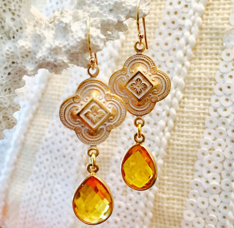 Citrine Patina Quatrefoil Design Earrings