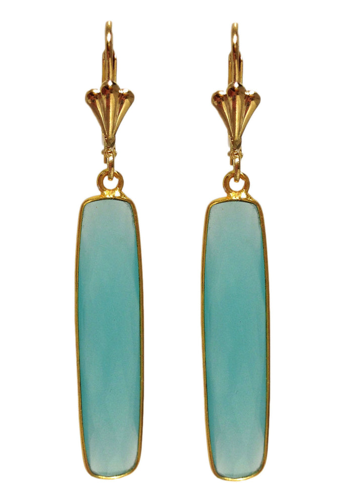 Long Blue Chalcedony Gold Filled Earrings by Teramasu