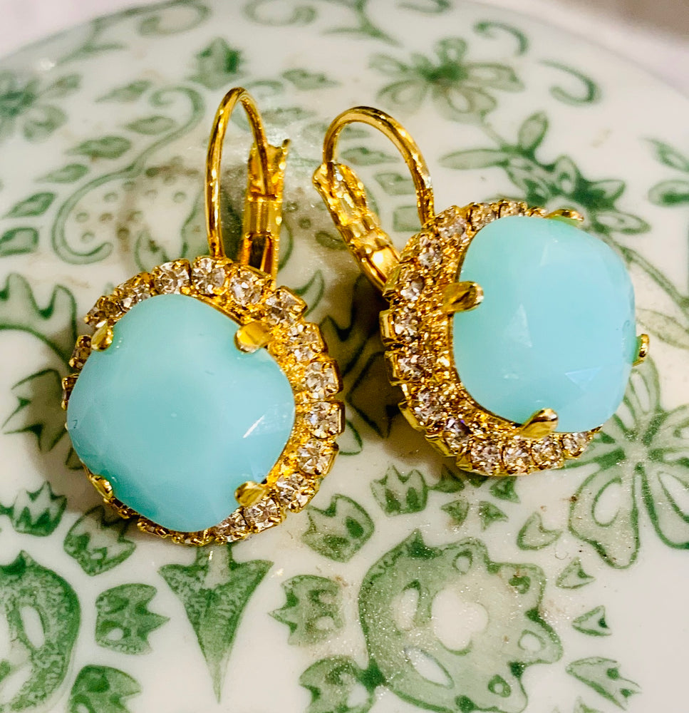 Teramasu Pale Blue Crystal  and Rhinestone Earrings in Gold Plated Lever Back