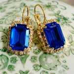 Teramasu Sapphire and Rhinestones Rectangle Lever Back Earrings