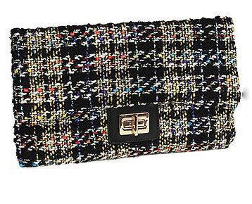 Tweed Plaid Beige Black Clutch With Shoulder Chain