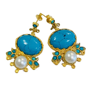 Turquoise and Pearl Gold Plated Post Earrings