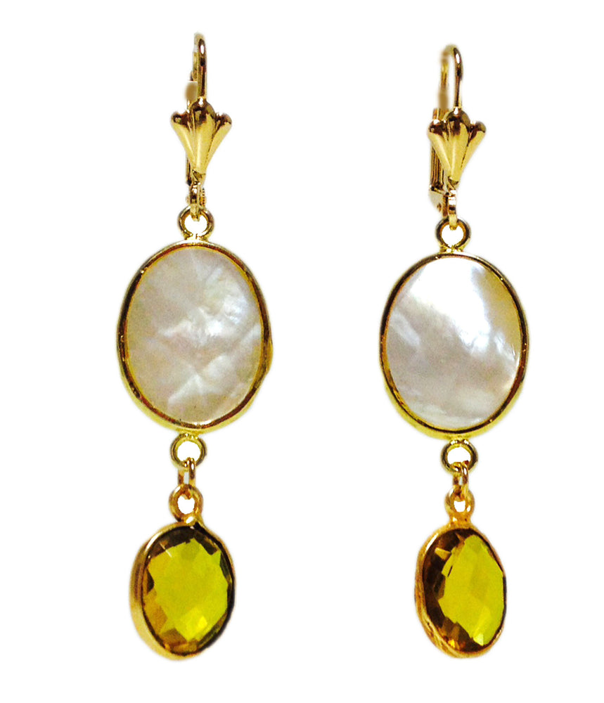 Mother of Pearl Yellow Citrine Crystal Gold Plated Drop Earrings