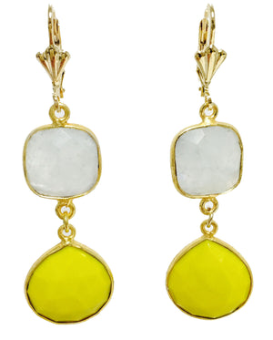 Yellow Turquoise and Moon Stone Gold Filled Earring