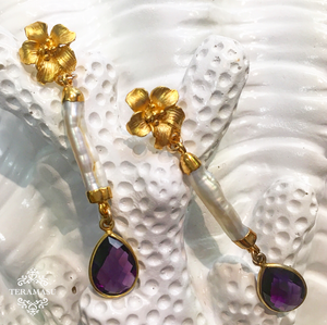 Teramasu Flower and Mother of Pearl with Amethyst Post Earrings