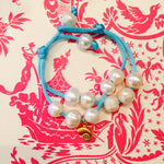 Pearl Bracelet Turquoise Satin With Sea Shell Charm