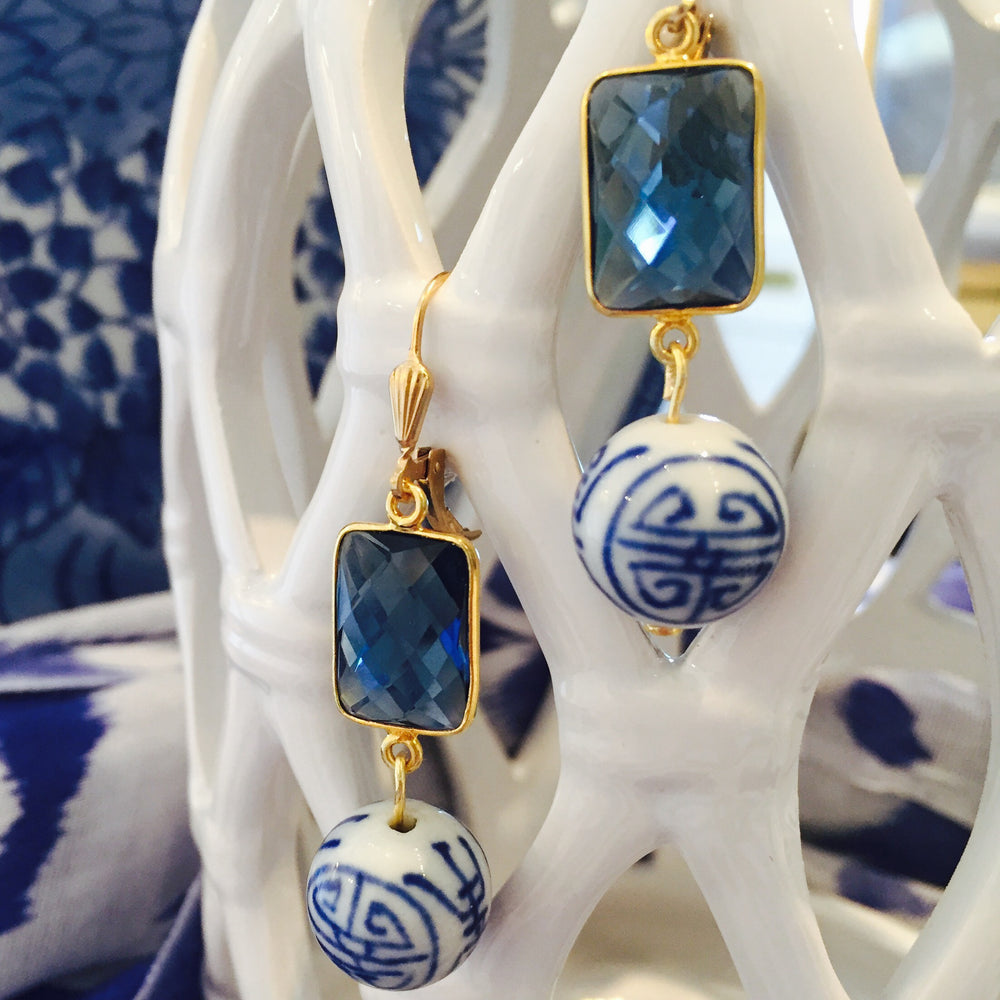 Blue Quartz Hand Painted Porcelain Drop Earrings