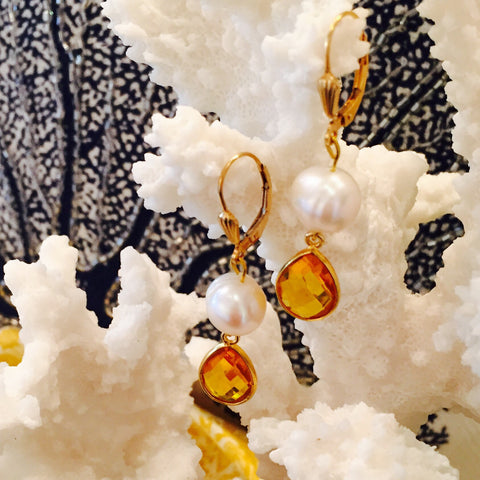 Citrine Pearl Dangle Earrings With Shell Design Leverback