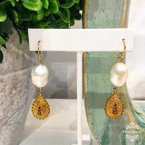 Teramasu Baroque Pearl and Gold Teardrop Earrings