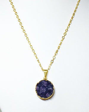 Purple Round Druzy Pendant Gold Filled Necklace