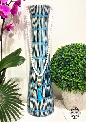 Teramasu White Agate with One-of-a-Kind Bead and Turquoise Tassel Necklace