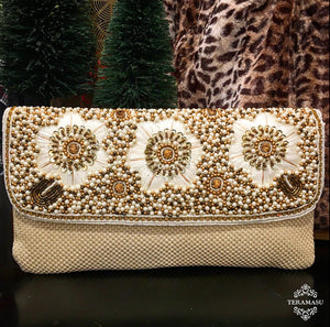 Cream Colored Clutch with Gold, Bronze, and Ivory Hand-beaded Design